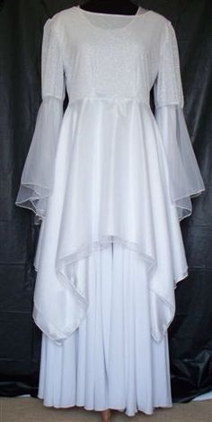 Praise Dance Overlay Tops | White/Silver Knit Dance Top w/Double Skirt & Bell Chiffon