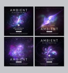 Ambient Electronic Music Album Cover Templates PSD