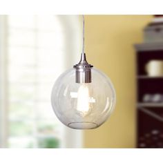 Worth Home Products 1-Light Brushed Nickel Instant Pendant Light Conversion Kit with Clear Glass Globe Shade-PBN-3524-1000 - The Home Depot $66.97