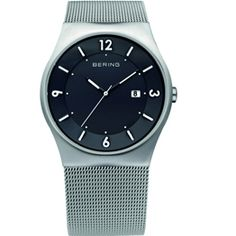 Bering Solar Gents Stainless Steel Black Dial/ Sapphire Crystal Glass Slim Mesh Band 50M