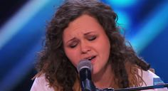 """Britney Allen, a 24-year-old singer from Alabama stumbles while singing """"Wherever You Will Go"""" by The Calling, on America's Got Talent Season 10, Tuesday, June 23, 2015."""