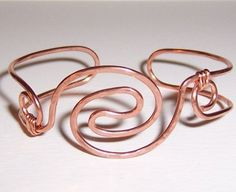 Handmade Hammered Heavy Gauge Pure Copper Wire Formed Cuff Bracelet  #Handmade #Cuff