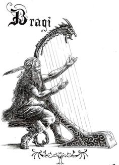 """Bragi is the god of poetry and music. He is the son of Odin and Frigg and known for his wisdom. Runes are carved on his tongue and he is said to inspire poetry in humans by letting them drink from the mead of poetry. Bragi's wife is Idunna, the goddess of Eternal Youth. Oaths are commonly sworn over the Cup of Bragi (Bragarfull) and this cup is also taken from in the honor of dead kings. Also, those about to become """"a king"""" drink from the Cup of Bragi."""