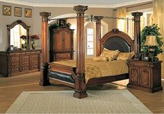 Montecito King Canopy Bed 5 Piece Bedroom Furniture Set in Home & Garden, Furniture, Bedroom Sets King Size Bedroom Furniture, King Size Bedroom Sets, Antique Bedroom Furniture, Victorian Furniture, Vintage Furniture, Antique Headboard, Leather Headboard, Bedroom Vintage, King Size Canopy Bed