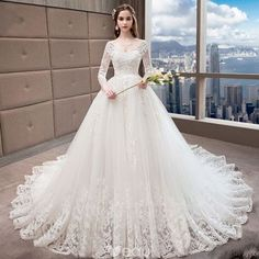 Chic / Beautiful White Wedding Dresses 2018 A-Line / Princess V-Neck Pierced Long Sleeve Backless Appliques Lace Beading Ruffle Cathedral Train Western Wedding Dresses, Wedding Dresses 2018, Princess Wedding Dresses, White Wedding Dresses, Bridal Dresses, Light Pink Wedding Dress, Lace Wedding Dress With Sleeves, Lace Sleeves, Green Formal Dresses