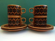 Your place to buy and sell all things handmade Hornsea Pottery, Kitchenware, Tableware, Pottery Marks, Autumnal, Black Pattern, Cup And Saucer, 1970s, I Shop