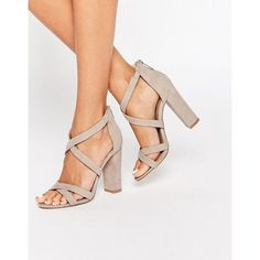 Miss KG Sian Strappy Block Heeled Sandals (290 PEN) ❤ liked on Polyvore featuring shoes, sandals, grey, block heel sandals, color block sandals, heeled sandals, strap high heel sandals and gray shoes