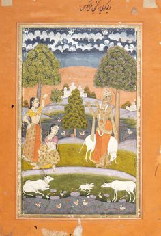 Megha Raga: Krishna fluting to the Gopis (female cow herders)  Hyderabad, ca.1760