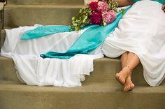 Blue sash on wedding