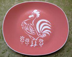 Vintage Harkerware COCK O THE MORN Rooster Platter