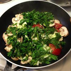 Yum yum :-) Æg og grøntsager: den gode morgenmad