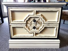 Ornate Distressed Nightstand 2 Drawer Chalk Paint Shabby #ChalkPaint #ReFabWest