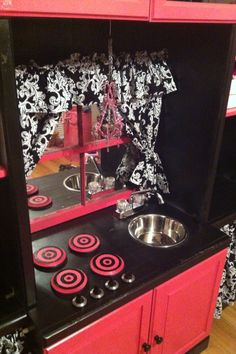 play kitchen made using an old entertainment center Diy Kids Kitchen, Old Entertainment Centers, Smoothies, Play Centre, Bath And Beyond Coupon, Fancy, Kids Decor, Play Houses, Kids Furniture