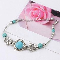 Boho Style Butterfly Turquoise Beads Handmade Cuff Bracelet