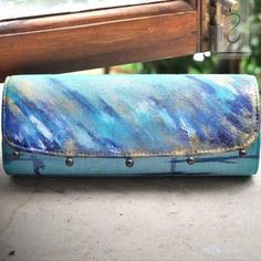 Unique hand painted clutch