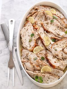 Roasted Turkey Breast with Lemon and Oregano is the perfect dish to serve for a crowd because it's all done ahead of time