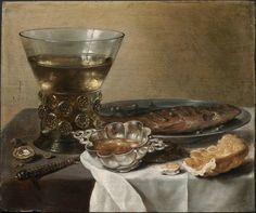 Claesz, Pieter - Nature morte avec coupe de brandy en argent, verre de vin, harang et pain - Museum of Fine Arts, Boston
