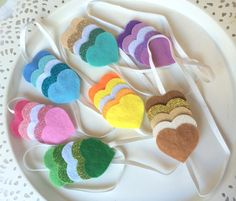 baby hairband with felted rainbow hearts  by littlegiftcollection