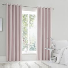 Crafted from a plain matt satin fabric, this pair of on trend blush colourway curtains feature a modern eyelet header and are blackout lined to minimise external light passing through. Available in three sizes and can be ironed for a crease-free finish. Satin Curtains, Master Bedrooms Decor, Bedroom Decor, Blackout Eyelet Curtains, Bedroom Color Schemes, Curtains, Bedroom Colors, Blush Curtains, Curtains Dunelm