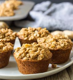 Fresh Ginger Oatmeal Crumb Muffins | naturally gluten-free without any starches or gums!