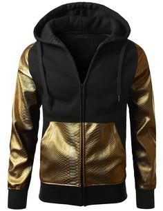 URBANCREWS Mens Hipster Hip Hop Alligator PU Trim Hooded Jacket BKGOLD MEDIUM
