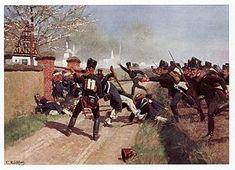 Preußisches Füsilier-Bataillon des 1. Garde-Regiments zu Fuß in der Schlacht, Gemälde von Carl Röchling