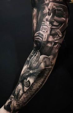 oldschool tattoovorlagen 50 So coole Tattoo-Ideen Evil Tattoos, Gangster Tattoos, Forarm Tattoos, Forearm Tattoo Men, Leg Tattoos, Body Art Tattoos, Tattoos For Guys, Tatoos Men, Skull Sleeve Tattoos