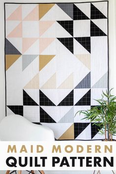 Modern and minimal half square triangle quilt pattern.  This easy quilt pattern is perfect for beginners.