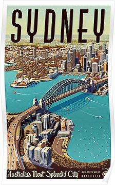 Sydney, big city, port, panoramic view, tourist travel, vintage, poster Poster