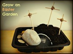 I love this! it's an Easter garden! on Easter you roll away the stone. You can sprinkle grass seeds as well