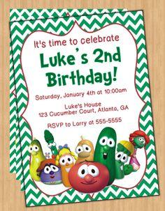 Veggie Tales Digital Birthday Party Invitation by preciouspixel, $5.00