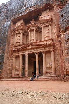 Petra, Jordan.  Carved into the sandstone hill by the Nabataeans in the second century A.D., this towering structure, called El-Deir, may have been used as a church or monastery by later societies, but likely began as a temple.