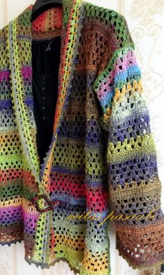 Noro crocheted jacket, no pattern. Not crazy about the colors but love the jacket design. Crochet Jacket, Crochet Cardigan, Knit Or Crochet, Crochet Granny, Crochet Shawl, Crochet Style, Crochet Sweaters, Crochet Motifs, Crochet Stitches