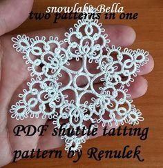PDF Original Shuttle Tatting Pattern. Snowflake. Star. Instant Digital Download. Tatting yourself xmas gift. schemat frywolitki czółenkowej.