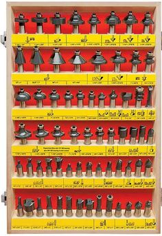 MLCS 66 Piece Carbide Tipped Router Bit Set features an assortment of router bits for many woodworking applications Router Tool, Wood Router, Router Woodworking, Woodworking Workshop, Woodworking Techniques, Woodworking Shop, Woodworking Projects, Router Projects, Wood Projects