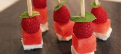 Bouchées de pastèque, chèvre et framboise, recette pour apéritif, apéritif, apéro