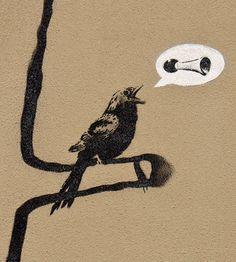 Bird by Banksy, outdoor work