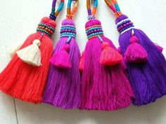 These stunning ethnic Thai tassels make a great addition to bags, accessories or home décor items. Choose from four different shades!* The tassels reflect the Thai people's love of rich, bold colours. Perfect for festival fashion or boho designs! Boho Designs, Pom Pom Crafts, Yarn Crafts, Glands, Bold Colors, Handicraft, Decorative Items, Hand Embroidery, Tassels