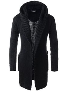 Mens Slim Fit Hooded 2 Pocket Shawl Collar Knitted Long Sleeve Cardigan | Smart Pinner