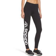 694dd0640b5306 Women's Adidas Originals Linear Leggings ($35) ❤ liked on Polyvore  featuring pants, leggings