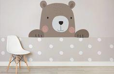 peek a boo bernie-nursery-room-wall mural Bear Wallpaper, Room Wallpaper, Wallpaper Ideas, Nursery Room, Kids Bedroom, Room Wall Painting, Hand Painted Walls, Baby Room Design, Baby Kind