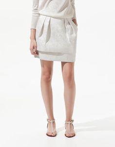 METALLIC THREAD JACQUARD SKIRT - Skirts - Woman - ZARA United Kingdom