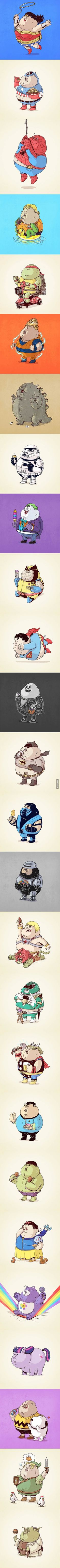 "What if Superheroes Were Fat?.. I think these are ""Super-size-heroes"""