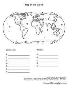 Free printable worksheets for preschool, Kindergarten, 1st, 2nd, 3rd, 4th, 5th grades. Oceans and Continents.