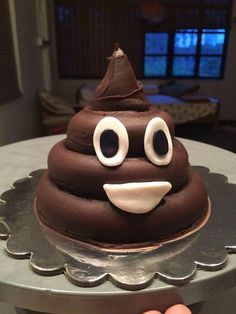 """Poop emoji cake take off the face and write """"Shit you're old"""" on the cake. Doesn't need to look this nice. Just layer different size c… . Poop emoji cake take Pear Recipes, Coconut Recipes, Fondant Figures, Cupcakes, Poop Cake, Mugcake Recipe, Emoji Cake, Star Cakes, Spiced Coffee"""
