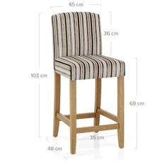 Carter Oak Bar Stool Stripe Fabric - Atlantic Shopping Bar Stools Uk, Counter Stools, Kitchen Worktop Height, Bar Chic, Modern Interior, Interior Architecture, Interior Ideas, Dining Chairs Uk, Arm Chairs