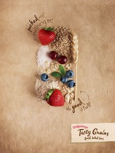 Our food print ads for Otis Spunkmeyer are packed with good stuff.