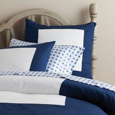 Navy Color Frame Duvet | Serena & Lily, $110 - 140. #kids #bedding #smallforbig #serenaandlily