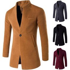 Fashion Business One Button Stand Collar Woolen Jacket for Mensales-NewChic Mobile