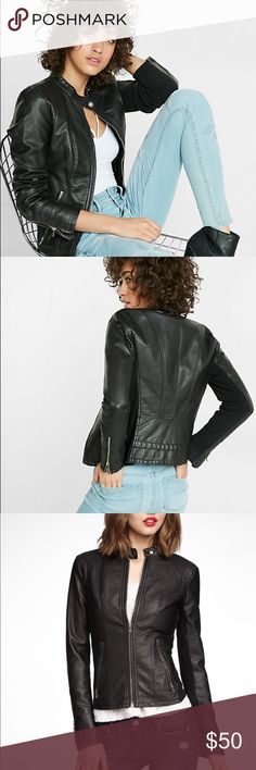 """Express jacket (Minus The) Leather Double Peplum Jacket Layer up with a sleek moto style softened by double-layered peplum flaring in back. It makes a tough and lovely topper for a flirty dress or a statement tee. Stretch knit insets on the side seams and sleeves help ensure a perfectly comfortable fit.  Faux leather jacket Band collar, snap closure, shoulder stitching accents Zip front, long sleeves with zippered cuffs Slant zip hand pockets, 22"""" long PU-coated Viscose; Poly/Viscose/Spandex…"""